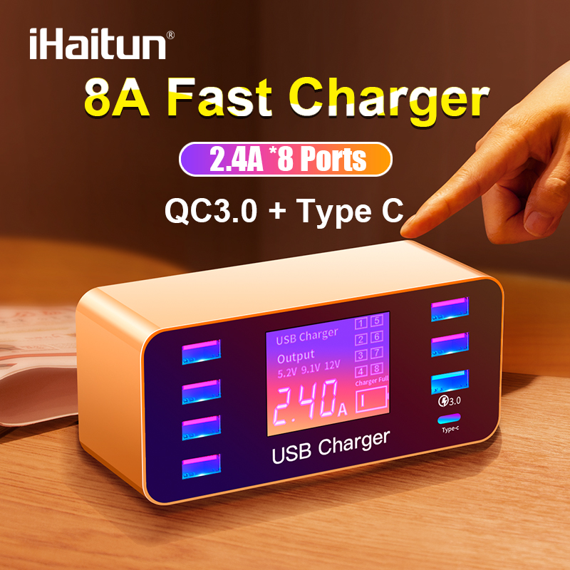 iHaitun LED 8 Port 8A 40W QC 3.0 USB Charger Type C Quick Smart Mobile Phone Charger For iPhone X XS Samsung S10 Huawei P30 Pro