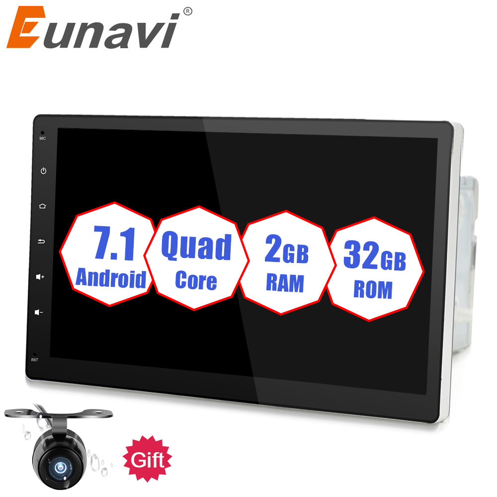 Eunavi 2 Din Quad core 10.1'' Android 7.1 2G RAM Car PC Radio Stereo Tablet double din GPS Navi No-DVD mp3 Player BT USB WIFI
