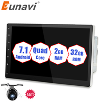Eunavi 2 Din Quad core 10.1'' Android 7.1 2G RAM Car PC Radio Stereo Tablet double din GPS Navi No DVD mp3 Player BT USB WIFI