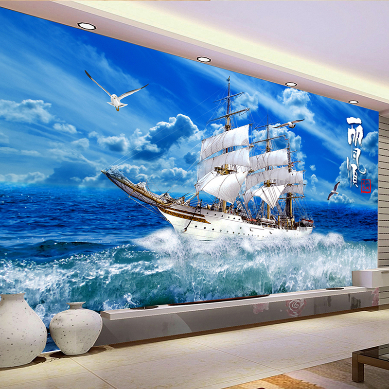Custom 3D Wallpaper Blue Sky Sailing Ship Nature Landscape 3D Wall Mural Photo Wallpapers Living Room Study Murales De Pared 3 D
