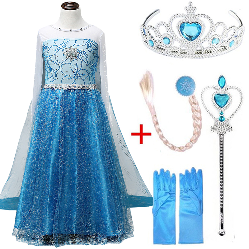 2019 Snow Queen Elsa Dresses Cosplay Elza Dress for Girls Beautiful Princess Anna Costume Party Clothes Kid Clothing Vestidos2019 Snow Queen Elsa Dresses Cosplay Elza Dress for Girls Beautiful Princess Anna Costume Party Clothes Kid Clothing Vestidos
