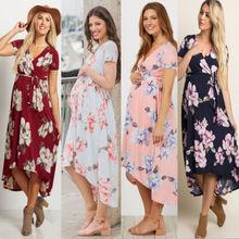 452d2330c Nuevo estilo mujeres embarazadas Floral largo Maxi vestidos vestido de  maternidad fotografía disparo ropa embarazo verano