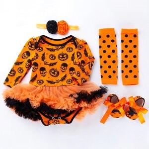 Image 2 - 4 Uds. De ropa para niñas recién nacidas, mono, traje de calabaza, conjunto de Calavera, ropa de Halloween, para fiesta, Cosplay