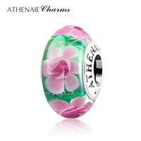 ATHENAIE Vetro di Murano 925 Sterling Silver Core Rosa Peonia Fiore Shimmer Fascini del Branello di Colore Verde