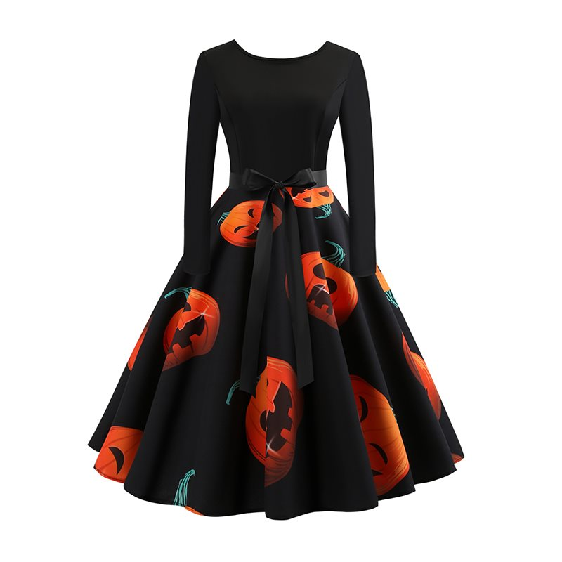Hot Halloween Party Women Dress Winter Pumpkin Print Bowknot Zipper Backless Female Prom Black Gothic Swing Midi Vintage Dresses