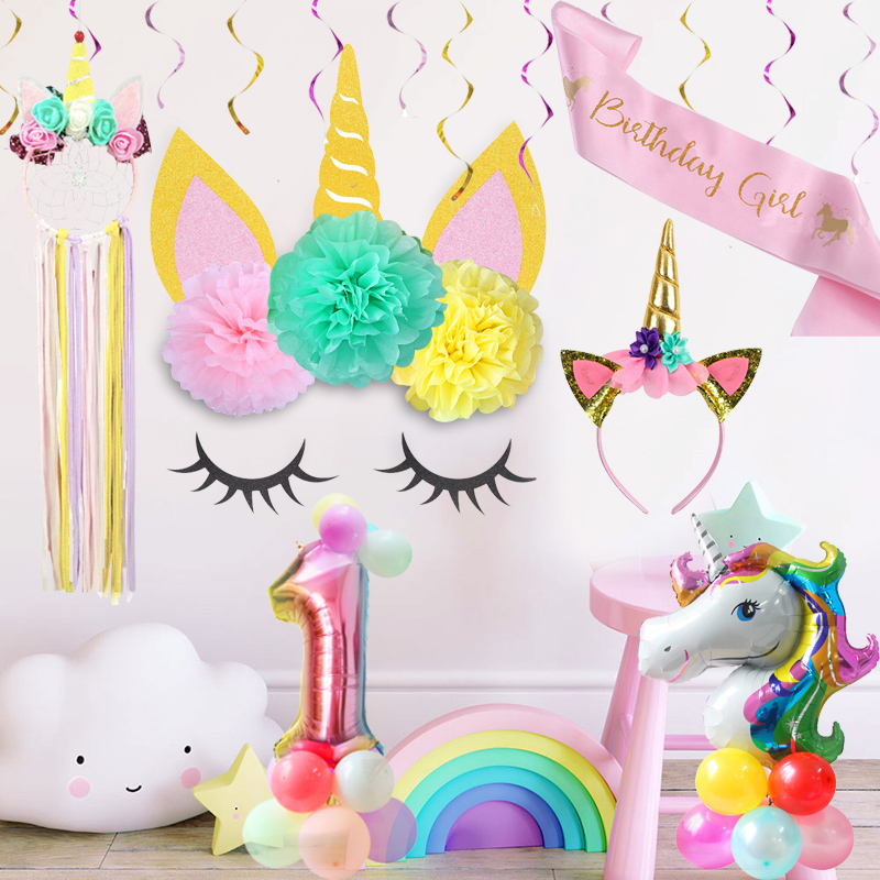 WEIGAO Unicorn Decoration Birthday Horn Sets With 3Pcs Tissue Paper Flowers Pompoms DIY 1st Girl Party Supplies