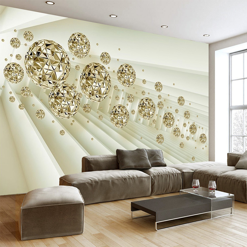 Modern Creative Space Metal Ball 3D Wall Murals Wallpaper Living Room Bedroom TV Background Wall Paper For 3D Wall Cloth Decor