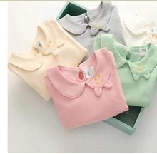 2016 spring&autumn girl's Long Sleeve cotton shirt o-neck Bow knot blouse sweet little girl's blouse rose pink red 2-6 Years