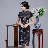 Summer New Short Slim Female Qipao Black Silk Cheongsam Sexy Printed Floral Chinese Vintage Dress Lady Vestidos Plus Size S 3XL