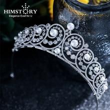 Himstory Elegance European Simple Cubic Zirconia Tiaras Crown Freshwater Pearl Headband Princess Bride Hair Jewelry Accessorie