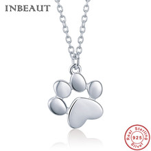 INBEAUT Trendy Bear Paw Pendant Necklace 925 Sterling Silver Cute Animal Footprint Elegant Rose Gold Wedding Necklaces Christmas