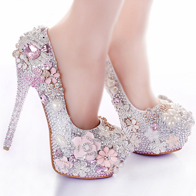 8cd2f58a3c71 Rhinestone Flower Pink Wedding Shoes Stiletto Heel 14cm Crystal 2018 Bridal  Prom Bridesmaid Shoes for Mermaid Wedding Dresses-in Women s Pumps from  Shoes on ...