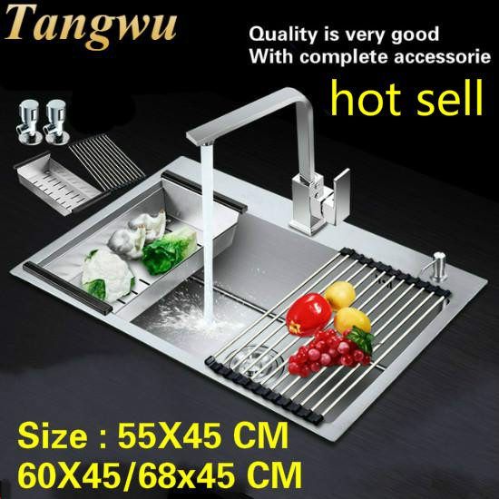 Free Shipping Household Kitchen Manual Sink Single Trough Wash The Dishes 304 Stainless Steel Hot Sell 55x45/60x45/68x45 CM