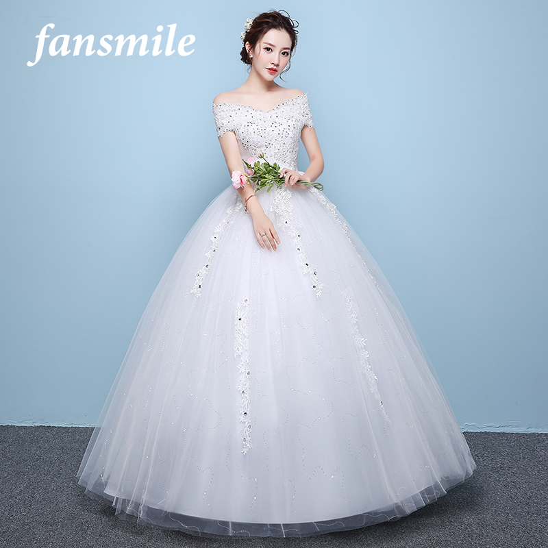 Fansmile Real Photo Vintage Lace Up Ball Wedding Dresses 2019 Vestido Robe De Mariage Customized Plus Size Bridal Gowns FSM-348F