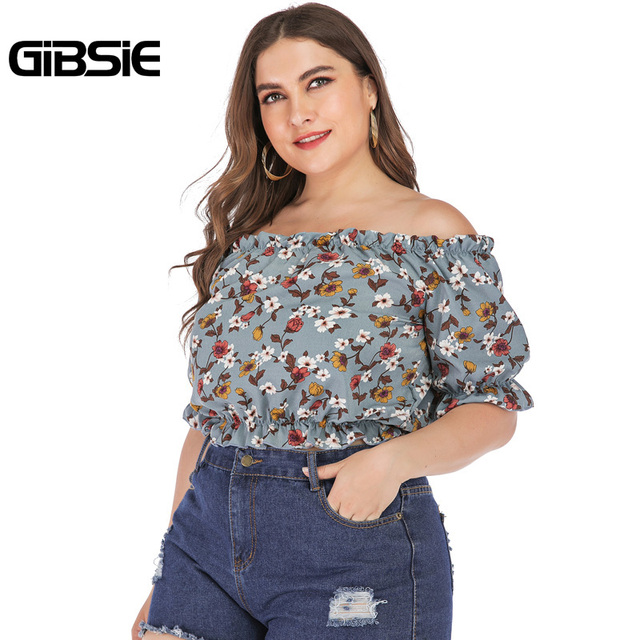 GIBSIE Plus Size Floral Print Boho Off Shoulder Ruched Crop Top Blouse 2019 Summer Holiday Casual Womens Tops and Blouses 4