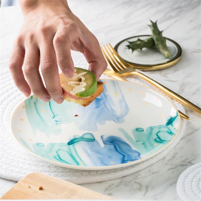 Paysage Dessert assiette thème spécial motif plateau Western Restaurant Dessert assiettes coloré nourriture conteneurs innovant présent