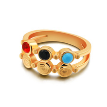 NEW 2019 Fashion women gold ring red blue black Zircon plating Charming lady 6-9 size silver jewelry