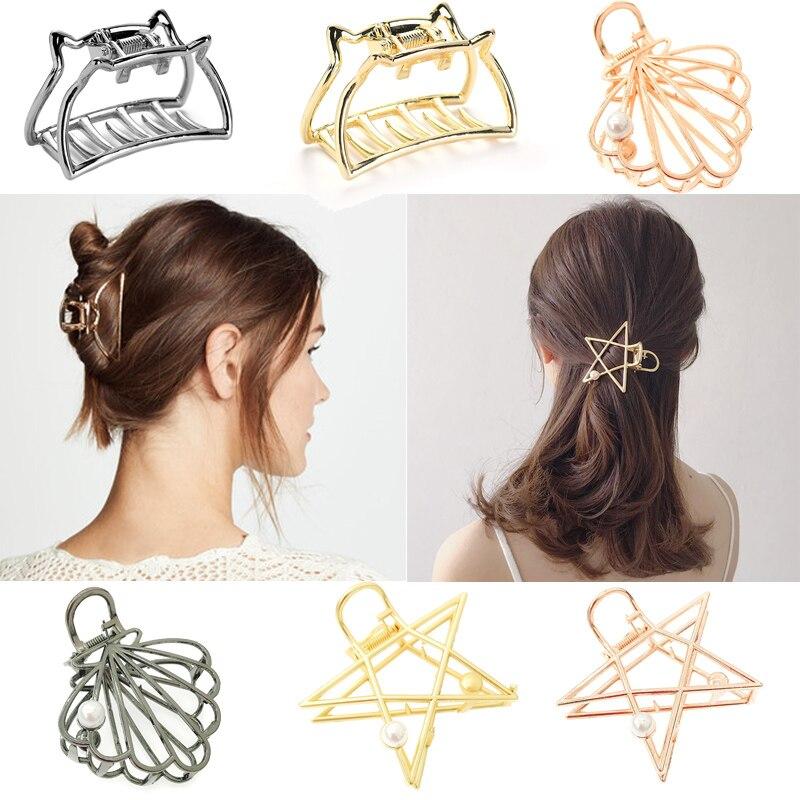 New Fashion Women Hair Claws Gold Silver Metal Hair Clamp Clips Pearl Hair Crab Star Cat Hair Grips Accessories Make Up Hairpin|Women's Hair Accessories| - AliExpress
