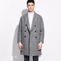 brand clothing 50% wool men blazers and jackets 2015 double breasted suit jacket mens grey slim blazer business winter formal