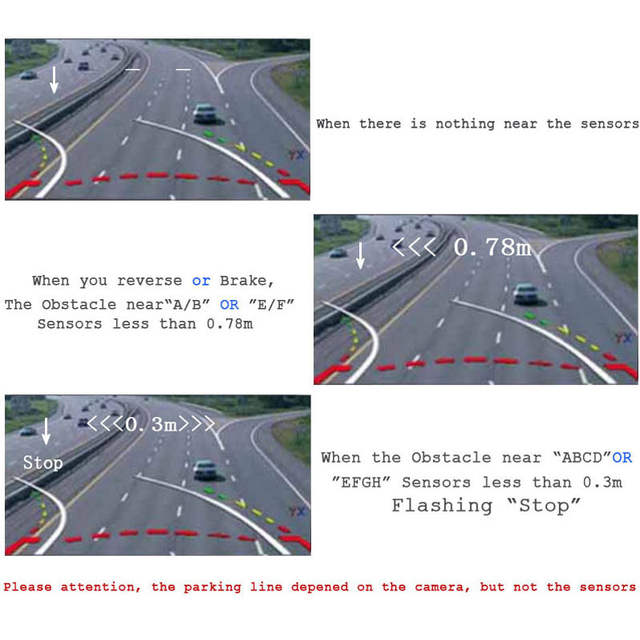 US $95 53 |Koorinwoo Auto Parktronic 8 Car Parking Sensor Alert Front  Camera Rearview Moving Parking Guide Line Car Monitor Black White Red-in  Parking