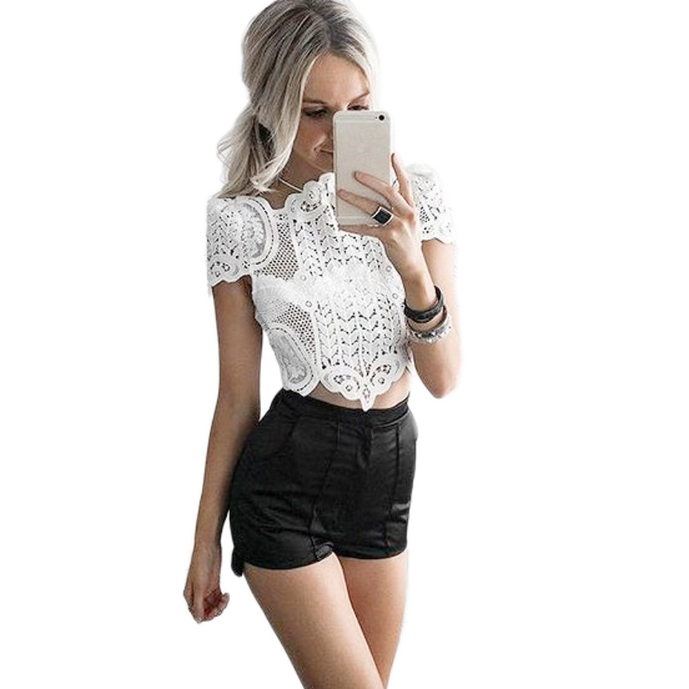 Women's Clothing Obedient Chamsgend Womens Blouse Fashion Sexy Womens Summer Lace Crochet Top Blouse Shirt #180207@ga High Safety