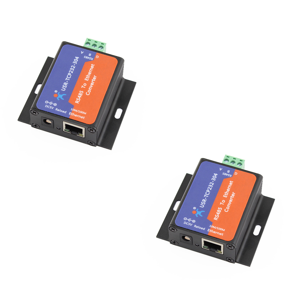 Q14870 2 2 Pcs USR TCP232 304 Serial RS485 to TCP/IP Ethernet Server Converter Module with Built in Webpage DHCP/DNS Supported