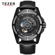 TEZER Fashion Designer Mens Watches Top Brand Luxury Automatic Self-Wind Clock 50M Waterproof Leather Strap Watch For Men Montre
