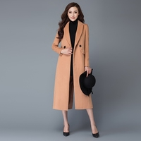 2016 Autumn Winter Fashion Women Wool Coat Outerwear Padded Lining Overcoat Camel Red Wine