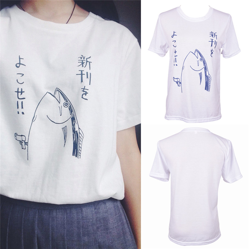 Gun Fish Print Fashion T-shirt Women Short-sleeve Simple Fresh Tops Tees Woman T Shirt Women's Clothing White shirt