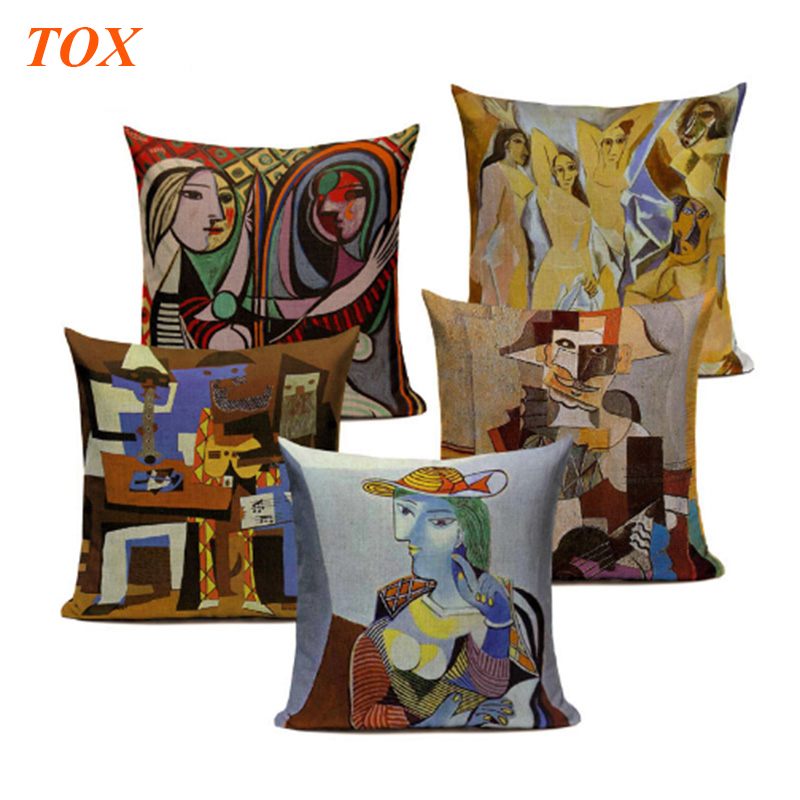 Pablo Picasso Famous Paintings Cushion Covers The Starry Night Surrealism Abstract Art Decorative Throw Beige Linen Pillow Case