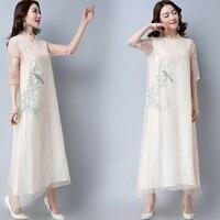 2018 Yeni Baskı Retro Yaz Elbise Çin Tarzı Üç Çeyrek Kollu Mandarin Yaka Elbiseler kadın Giyim