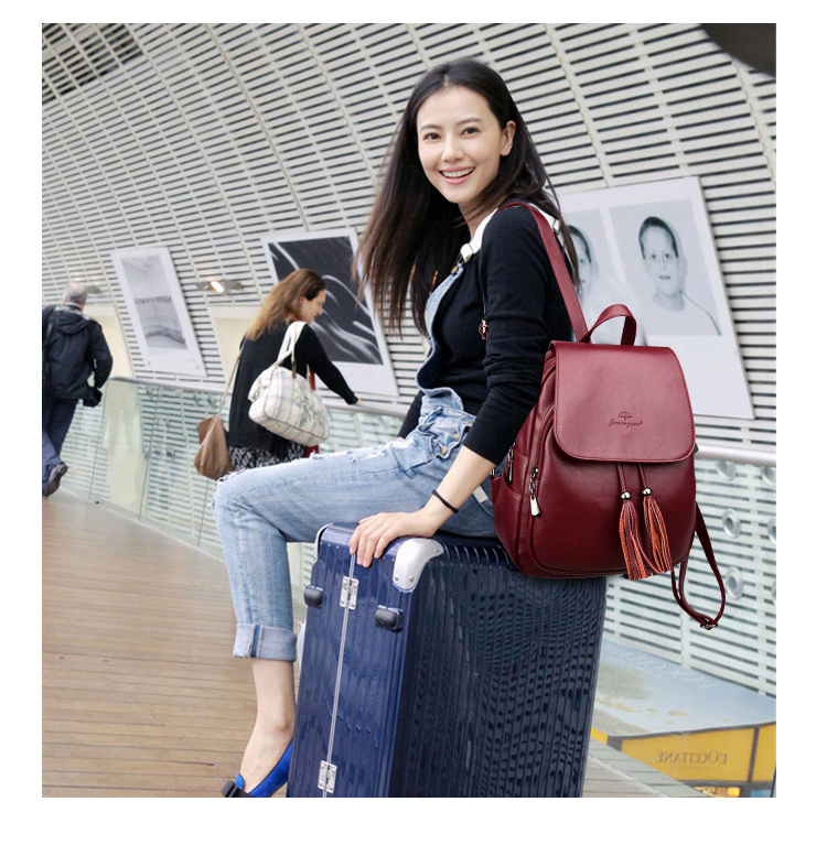 HTB1iB8.jBjTBKNjSZFDq6zVgVXa7 Fashion2018 Women Backpacks Women's Leather Backpacks Female school backpack women Shoulder bags for teenage girls Travel Back