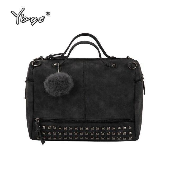 YBYT brand 2017 new fashion casual women handbag hotsale ladies large capacity solid rivet bag shoulder messenger crossbody bags