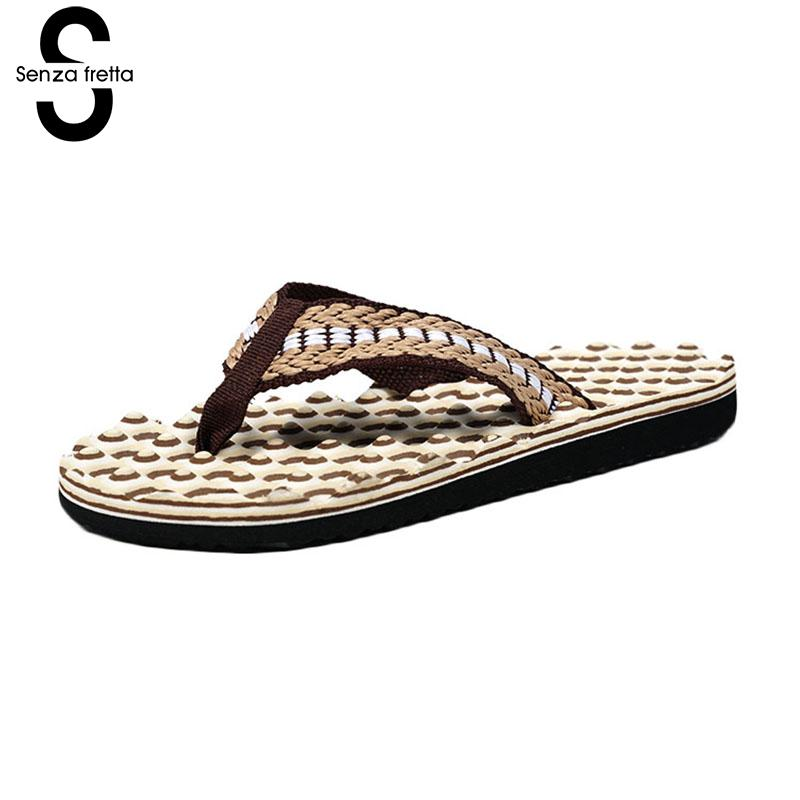 Senza Fretta Massag Flip Flops Men Shoes Flip Flops Beach Slippers Cool Flip Flops Slippers Non-slip Casual Massage Men Slippers фоторамка senza 20х25 см хром 956444