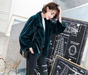Image 5 - Stijlvolle Revers 2 Riem Knop Lange Behaard Shaggy Faux Konijnenbont Korte Jassen Winter Vrouw Warm Houden Losse Faux Fur jas Bovenkleding