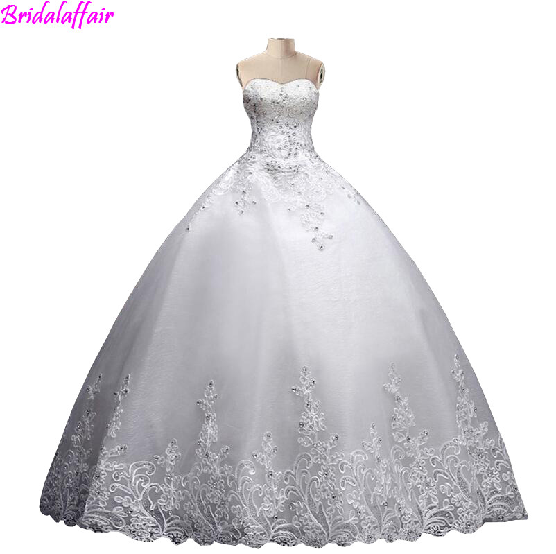 2018 Plus Sizes Ball Gown Wedding Dresses Sweetheart Floor Length Applique Puffy Bride Married Wedding Gowns bruidsjurken
