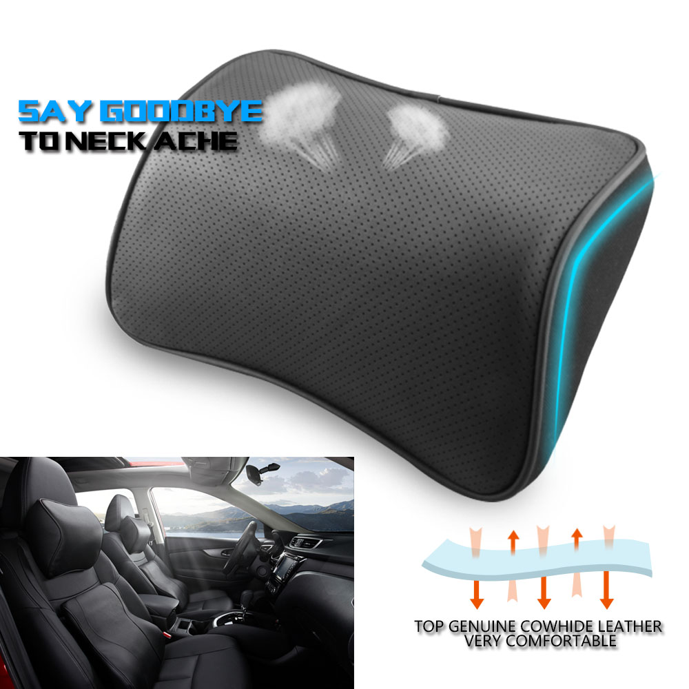 high quality breathable genuine leather car auto seat cover neck pillow protecter head rest. Black Bedroom Furniture Sets. Home Design Ideas