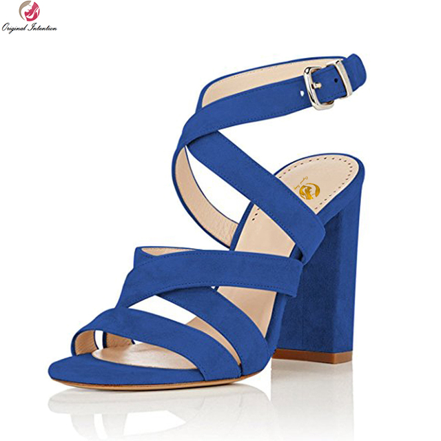 270c414f93b3 Original Intention Stylish Women Sandals Open Toe Square Heels Sandals  Black Blue Beige Purple Red Shoes Woman Plus Size 4-15