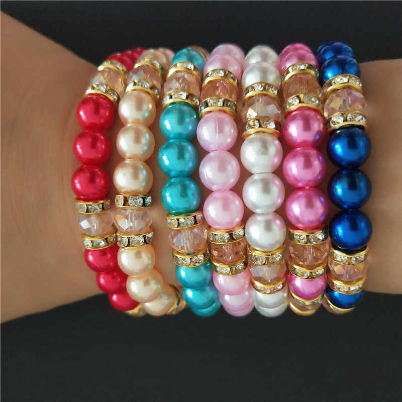 Elastic Bracelet Classic Blue Red pearl Inlaid pink crystal Bracelets for Men Women Best Friend Hot popular