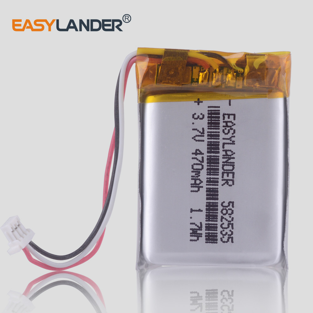3.7V 470mAh  Rechargeable Li Polymer Battery For MIO Tachograph Papago HP F300 F200 F210 QStar A5 DVR Parkcity 710 582535