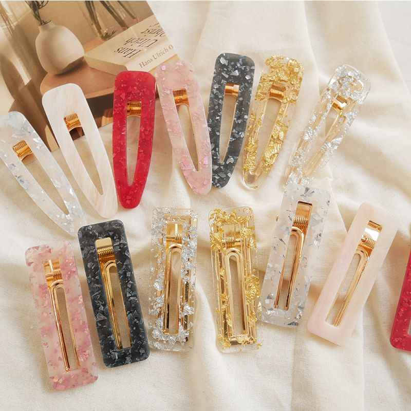 1PC New Women Girls Acrylic Hollow Waterdrop Rectangle Hair Clips Tin Foil Sequins Hairpins Barrettes Headbands Hair Accessories