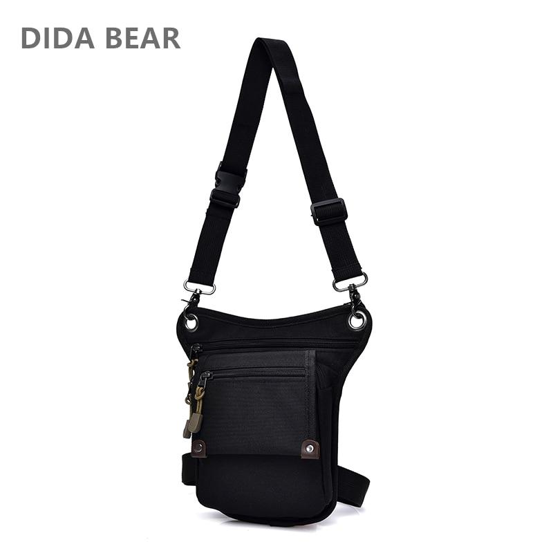 Dida Bear 2018 New Men Canvas Drop Waist Bags Leg Pack Bag For Work Men Messenger Bags Multifunction Shoulder Bag Black Khaki
