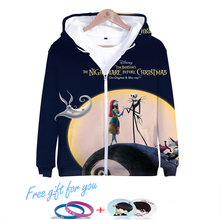 LUCKYFRIDAYF Nightmare Before Christmas Skull print 3D Zipper Hoodies Women Fashion Long Sleeve Popular Soft Clothes