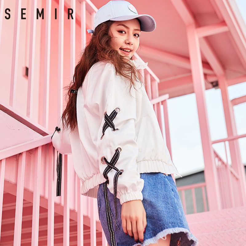 SEMIR kurtki moda krótki, w stylu basic stanąć kołnierz bombardier kurtka strój baseballowy stała się ona wiążąca dla dekoracji zip płaszcze kurtki dla kobiet