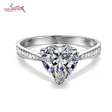 Colorfish услышать вырезать 1.25ct пасьянс кольцо для женщин CZ камень Аутентичные 925 Серебряная свадьба обручальное кольцо Свадебные украшения