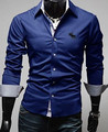 Мужская рубашка Бизнес стиль с длинными рукавами мужская одежда твердые рубашка горячий продавать футболки для мужчин C32
