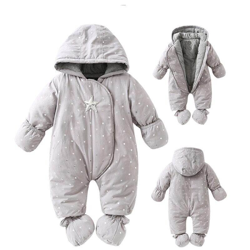 Nouveau-né bébé barboteuse Hiver 2018 bébé fille garçon Habit chaud bébé filles vêtements à capuche Nouveau-Né salopettes vêtements enfants enfants j