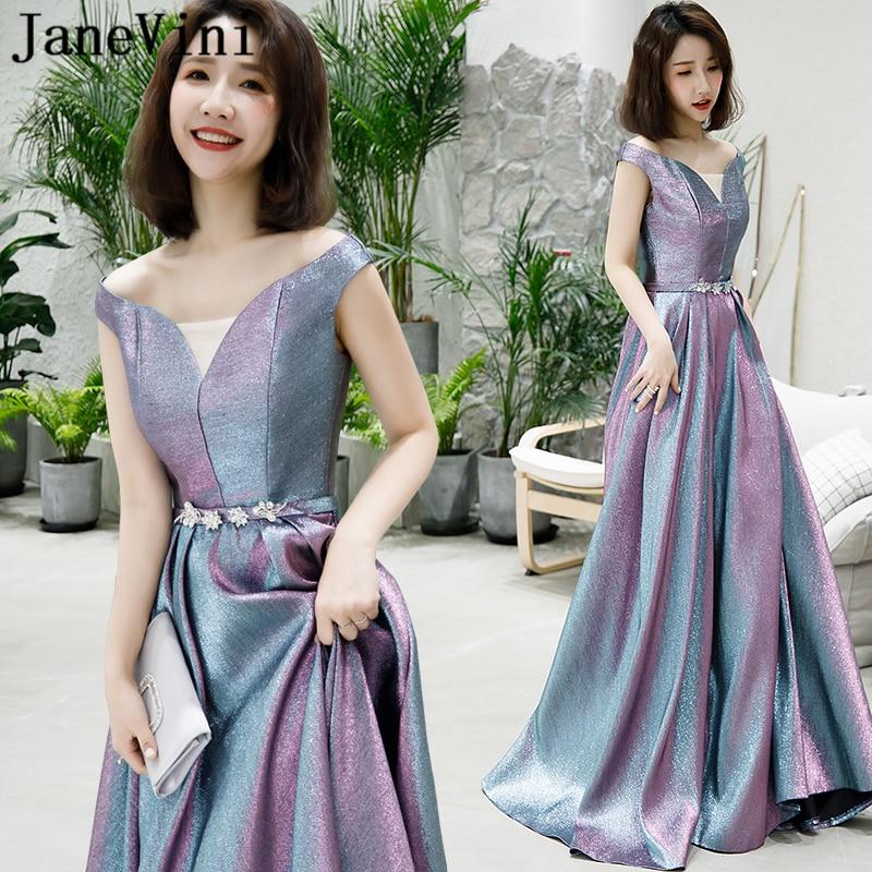 JaneVini Bling Bling paillettes violet longues robes de soirée hors épaule perlée dos nu une ligne Satin robes de bal Lange Jurk