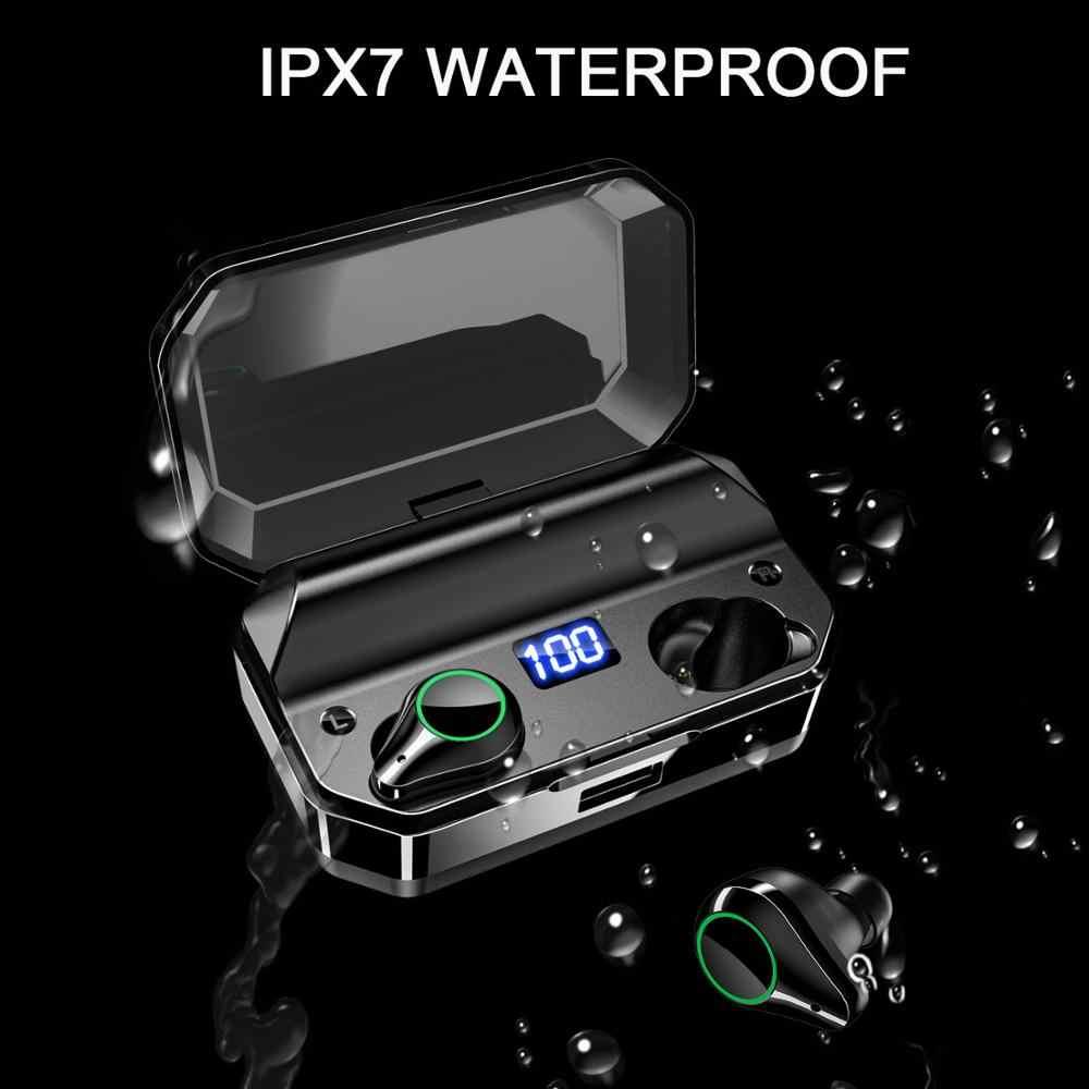QCR 5.0 TWS Bluetooth イヤホン 9D ステレオ Hifi ワイヤレスヘッドホン IPX7 防水 7000 12000mah パワーバンクマイクタッチキー