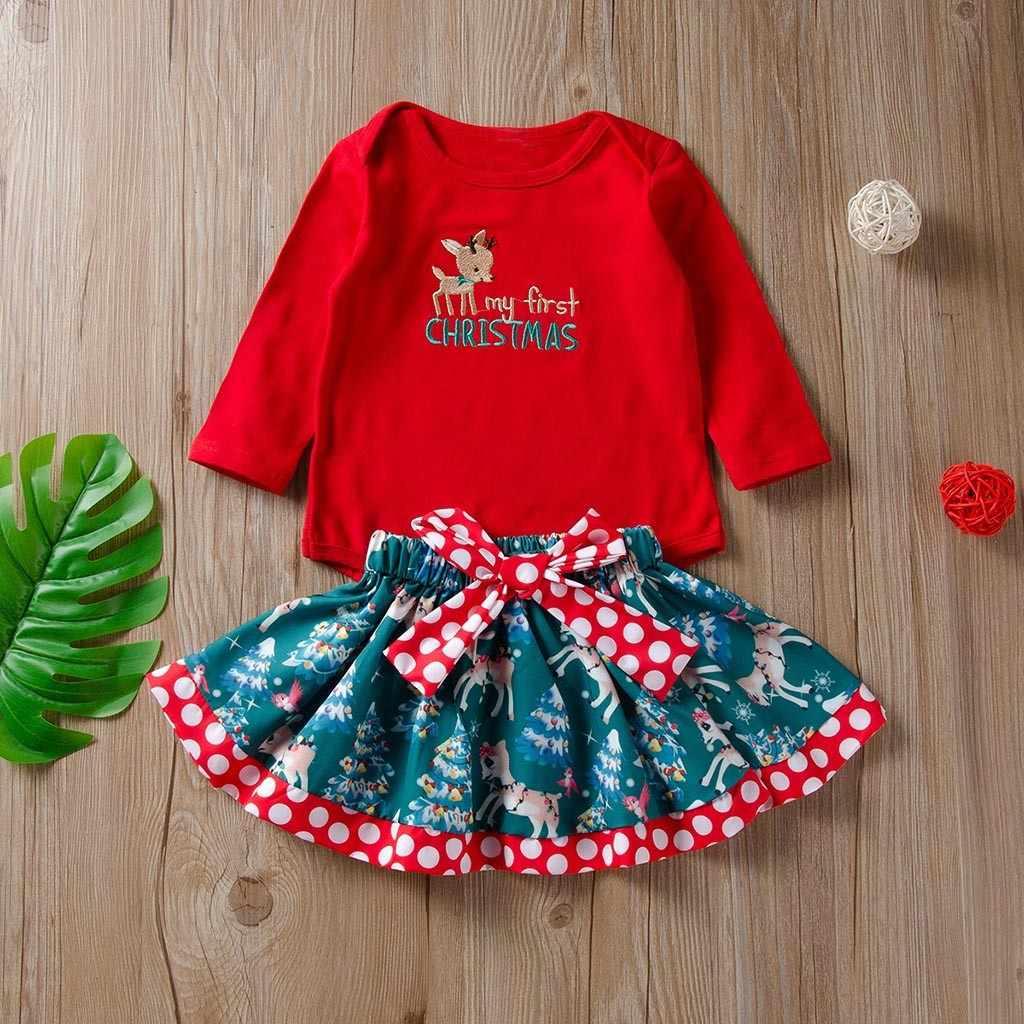b751567a6 ARLONEET Christmas New Year Santa Claus Baby Girl suit Cartoon Deer Letter  Romper+Bowknot Skirt